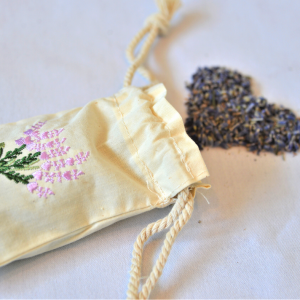 Muslin sachet embroidered and filled with lavender