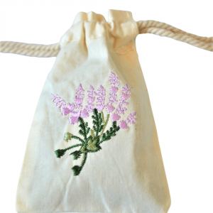 Embroidered lavender muslin sachet