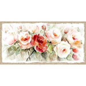Pink and cream wall art with roses
