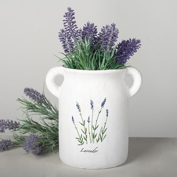 Lavender Print ceramic planter