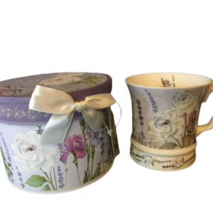 Boxed flared lavender and rose teacup