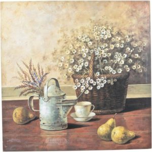 Still life art print with lavender and fruit