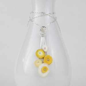 5 dot polymer clay flower bloom necklace by Karen Pasieka