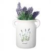 Matte white ceramic milk jug with lavender sprigs
