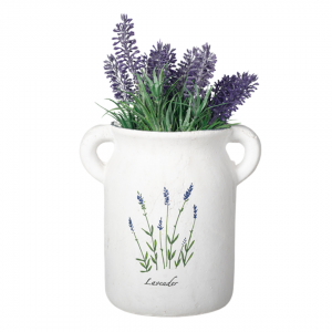Matte finish ceramic vase with lavender
