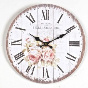 Round wood wall clock with romantic roses